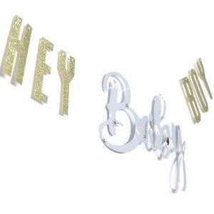 Hey Baby Girlande   Babyparty Baby Shower Dekoration