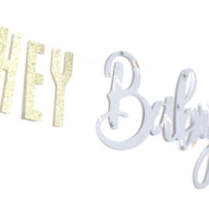 Hey Baby Girlande | Babyparty Baby Shower Dekoration