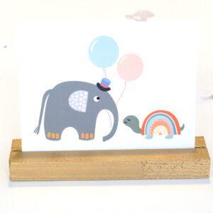 Elefant und Schildkröte Postkarte Baby Einladung
